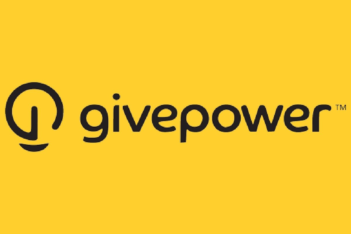 Give power logo, yellow background with black text