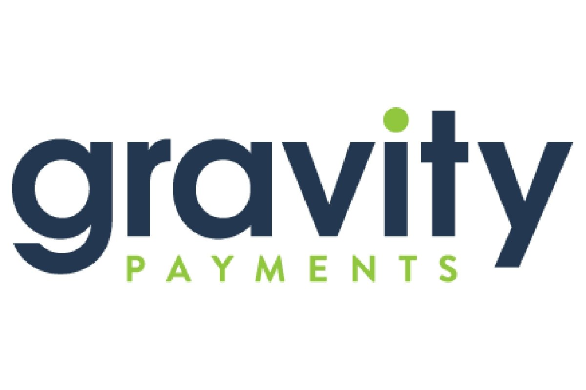 Gravity payments logo, lettering in navy blue and lime green